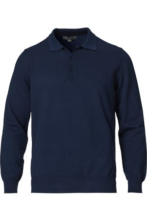 CANALI Cotton Long Sleeve Knitted Polo Navy