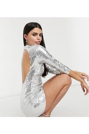 Jaded Rose High neck backless embellished mini dress in silver