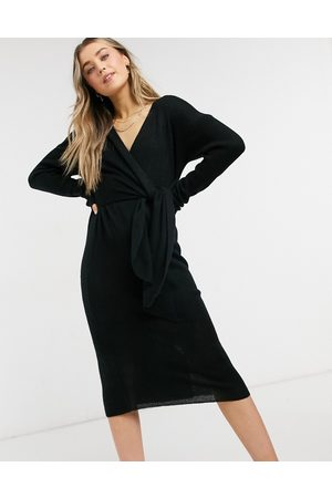 Style Cheat Emilia knit midi dress with tie in black