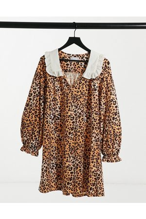 ASOS Mini dress with contrast white oversized collar in leopard print-Multi