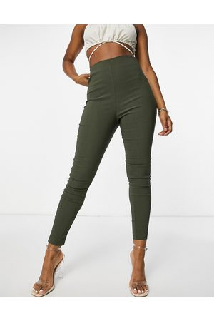 ASOS High waist trousers in skinny fit in khaki-Green