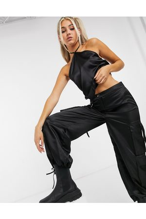 Another Reason Tie neck satin crop top-Black