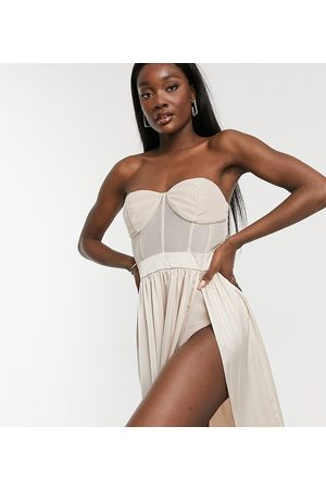 Jaded Rose Corset detail midaxi dress in champagne-White