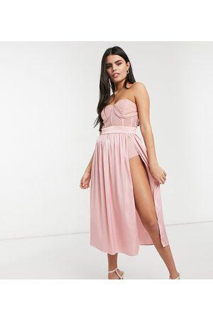 Jaded Rose Corset detail midaxi dress in rose pink