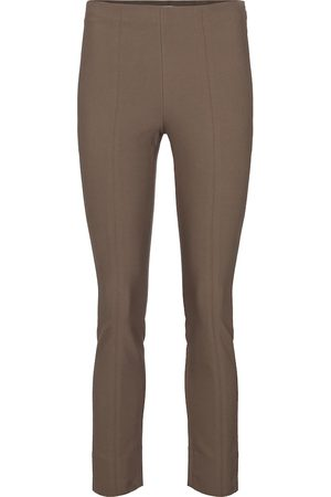 Vince High-rise slim cotton-blend pants