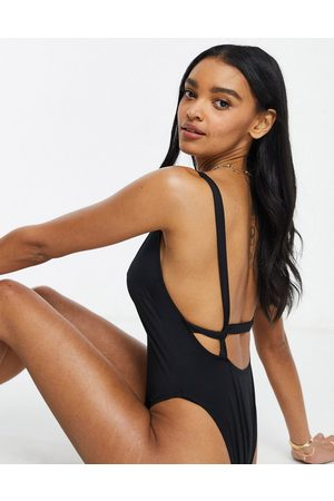 ASOS Fuller bust recycled supportive twist strappy low back swimsuit in black