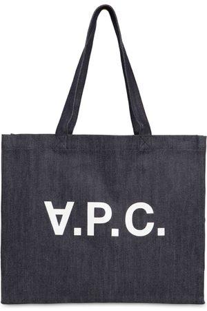 A.P.C. Md Logo Printed Cotton Denim Tote Bag