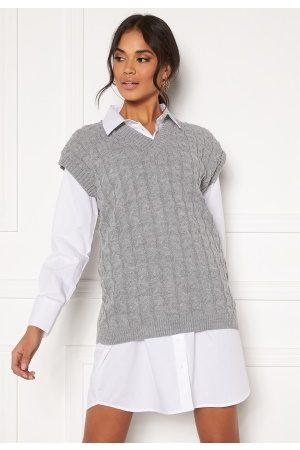 Ax Paris Cable Knit Tank Top Grey S/M