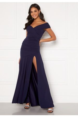 Goddiva Dame Maxikjoler - Bardot Pleat Maxi Split Dress Navy XL (UK16)