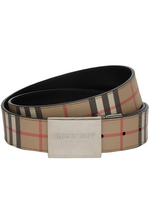 Burberry 35mm Reversible Check E-canvas Belt