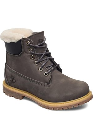 Timberland Dame Skoletter - 6in Prem Shearling Dk Gry Shoes Boots Ankle Boots Ankle Boot - Flat Grå