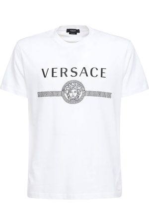 VERSACE Printed Logo Cotton Jersey T-shirt