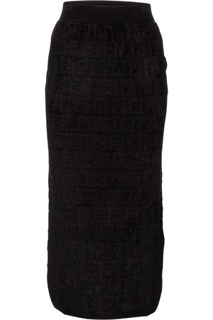 Fendi FF stretch-velvet jacquard midi skirt