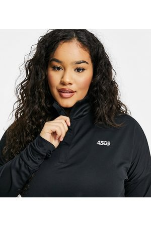 ASOS Curve icon long sleeve top with 1/4 zip-Black