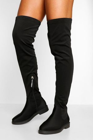 Boohoo Wide Fit Flat Stretch Over The Knee Boot