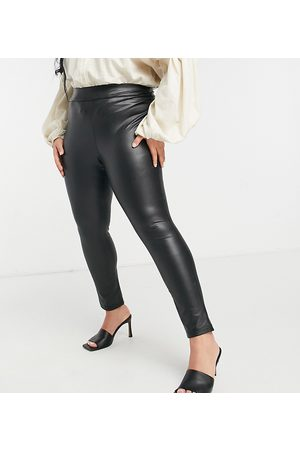 Simply Be High waisted faux leather leggings in black
