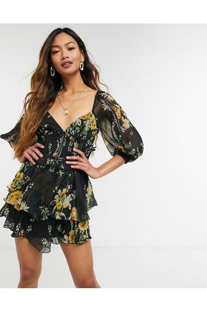 ASOS Floral printed dobby mini dress with PU tape detail-Multi