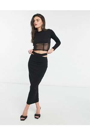 Vesper Fitted maxi skirt with cut out detail co-ord in black