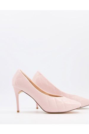 Truffle Collection Quilted heeled shoe with square toe-Pink
