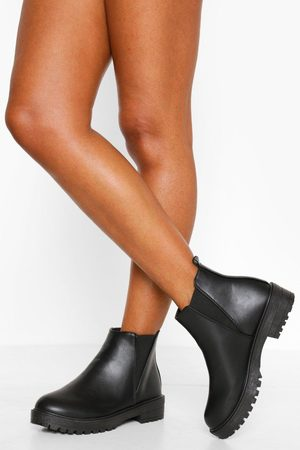 Boohoo Elastic Panel Chunky Cleated Chelsea Boot