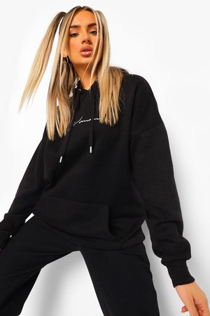 Boohoo Oversized Embroidered Woman Script Hoodie