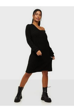 Pieces Pcellen Ls V-Neck Knit Dress Noos Black