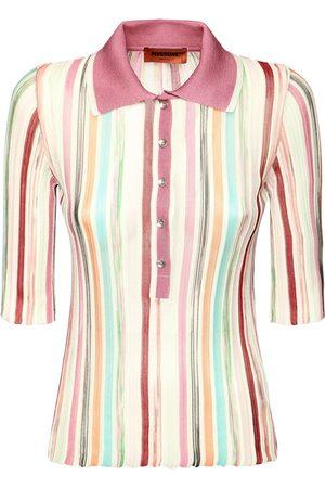 Missoni Dame Strikkegensere - Striped Viscose & Cotton Knit Polo