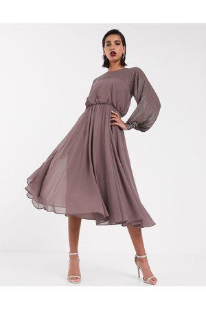 ASOS Midi dress with linear yoke embellishment in mauve-Multi