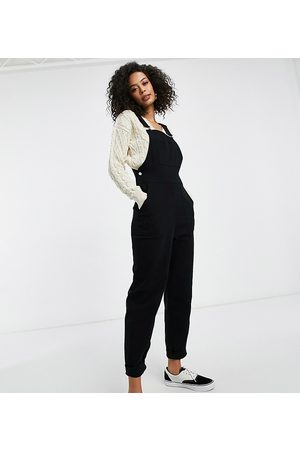ASOS ASOS DESIGN tall twill dungrees with pockets in black