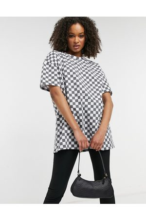 New Girl Order Oversized t-shirt in checkerboard co-ord-Black