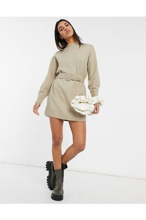 & OTHER STORIES Knitted belted mini dress in -Neutral