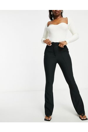 ASOS Hourglass slim kick flare trousers with seams in black