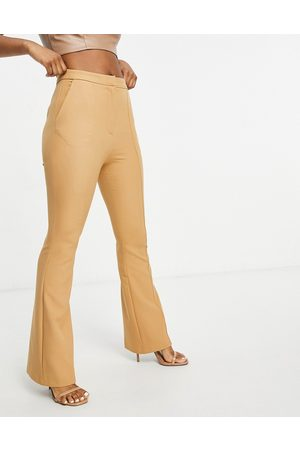 ASOS Hourglass slim kick flare trousers with seams in camel