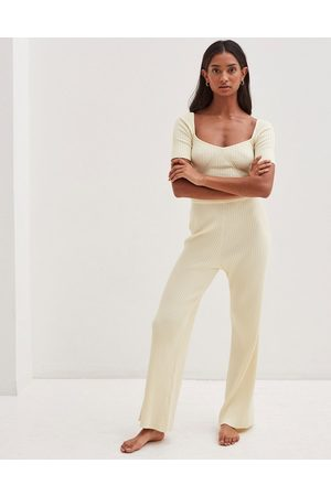 4th & Reckless Knitted wide leg trouser in cream