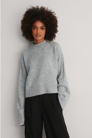 NA-KD Dame Gensere - Wide Sleeve Round Neck Knitted Sweater