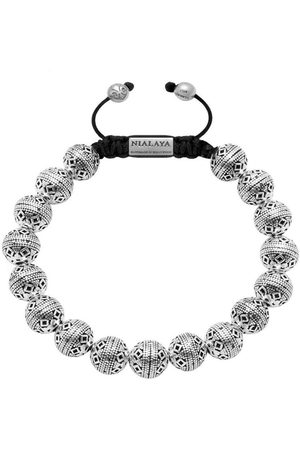 Nialaya Men's Beaded Bracelet with Indian Silver Cairo Beads