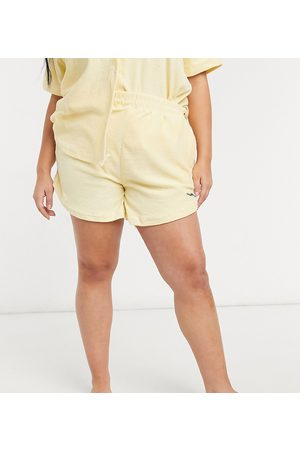 Loose Threads Plus Relaxed lounge shorts in towelling co-ord-Yellow