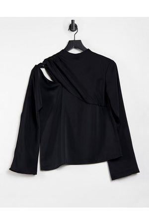 Pretty Lavish Cut out high neck drape long sleeve satin top in black