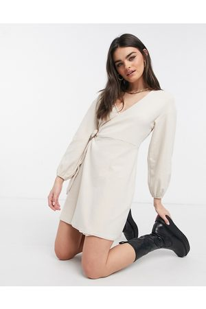 Fashion Union Cosy mini wrap dress in brushed jersey