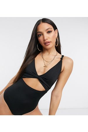 ASOS Dame Badedrakter - ASOS DESIGN tall recycled loop front swimsuit with knot in black