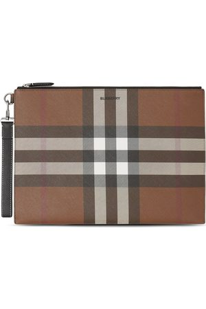 Burberry Large check-pattern pouch