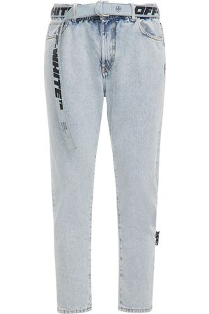 OFF-WHITE Low Crotch Bleached Denim Slim Jeans