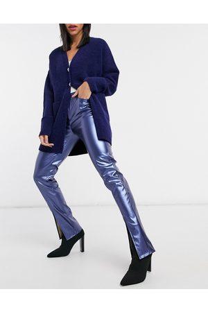 Virgos VL The Label front split flare trouser in liquid navy