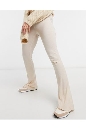 ASOS Mix & match lounge rib flare trouser in oatmeal