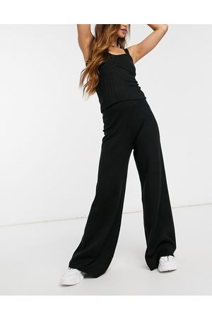 ASOS Co-ord knitted wide leg trouser in black
