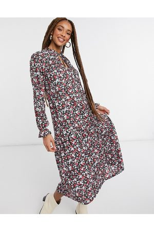ASOS Long sleeve midi dress with v neck and frill cuff in red floral print