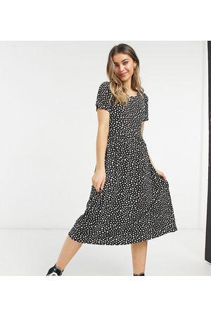 Wednesday's Girl Midi smock dress in smudge spot print-Black