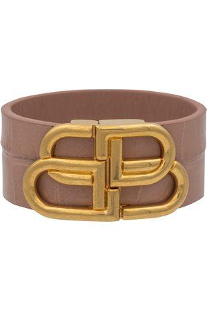 Balenciaga BB croc-effect leather bracelet