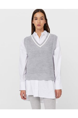 Stradivarius Dame Kortermede - Knitted vest with contrast stripe detail in grey