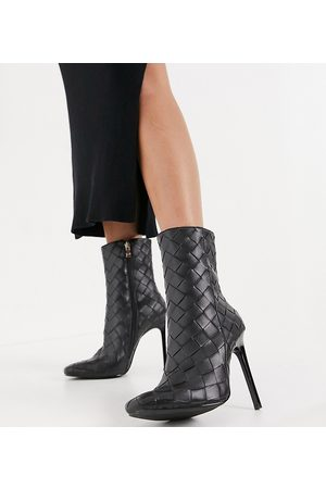 Simmi Wide Fit Simmi London Wide Fit Melina woven heeled ankle boots in black